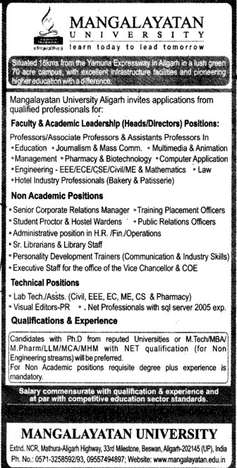Lab Technician and Visual editors (Mangalayatan University)