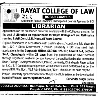 Librarian (Rayat College of Law)