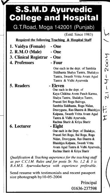 Readers and Lecturer (SSMD Ayurvedic College and Hospital)