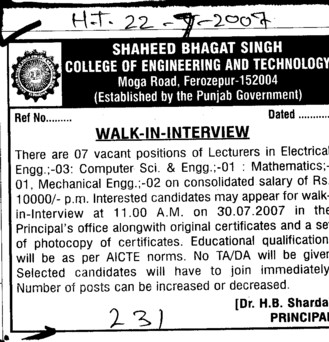 Lecturers for EE (Shaheed Bhagat Singh State (SBBS) Technical Campus)