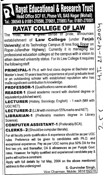 Principal, Lecturer and Reader (Rayat College of Law)