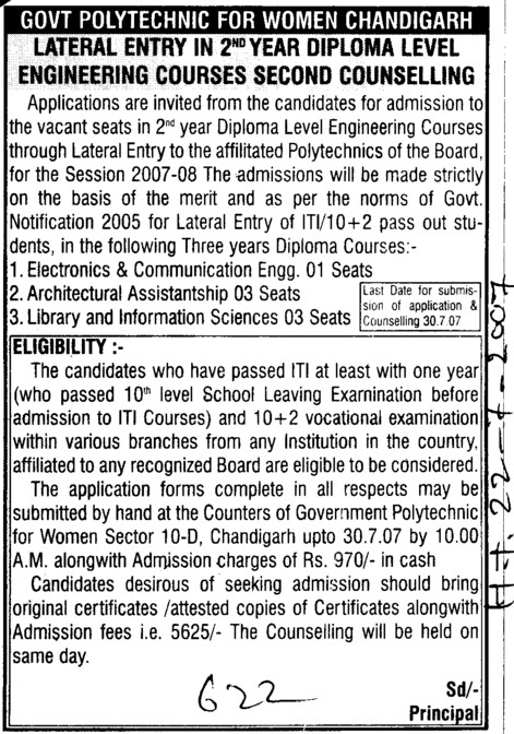 Diploma level engg courses (Government Polytechnic for Women (Sector 10))