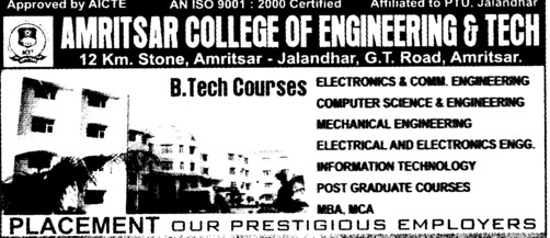 BTech in ME, EE (Amritsar College of Engineering and Technology ACET Manawala)