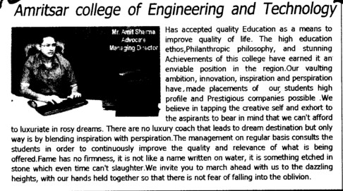 Message of Director Mr Amit Sharma (Amritsar College of Engineering and Technology ACET Manawala)