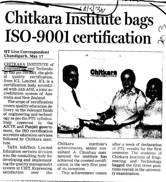 Institute bags ISO 9001 certification (Chitkara Institute of Engineering and Technology)