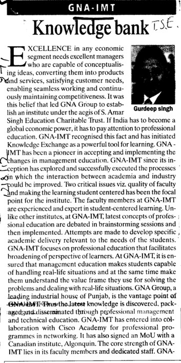 Gurdeep Singh speaks on Knowledge bank (GNA Institute of Management and Technology)