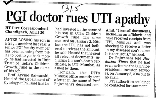 PGI doctor rues UTI apathy (Post-Graduate Institute of Medical Education and Research (PGIMER))