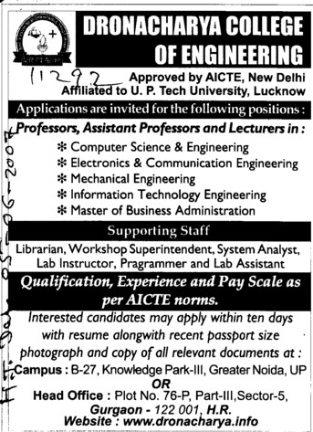 Asstt Professor and Lecturer (Dronacharya College of Engineering (DCE))