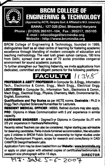 Lecturer and Resident Medical Officer (BRCM College of Engineering and Technology Bahal)
