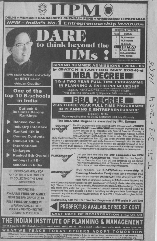 BBA and MBA (Indian Institute of Planning and Management)