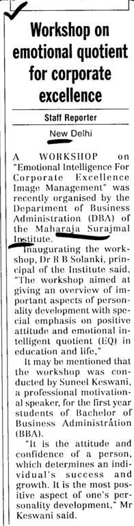 Workshop on emotional quotient for corporate excellence (Maharaja Surajmal Institute)