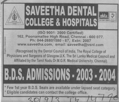 BDS course (Saveetha Dental College and Hospitals)