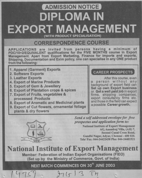 Diploma in Export Management (National Institute Of Export Management)