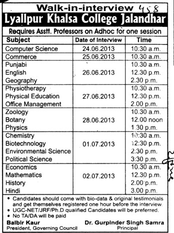 Asstt Professor on adhoc basis (Lyallpur Khalsa College of Boys)