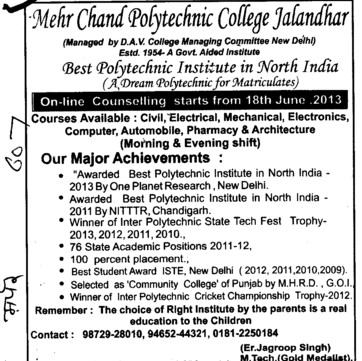 EE, ME, ECE and CSE (Mehr Chand Polytechnic College)