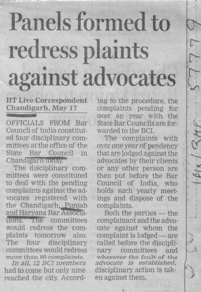 Panels formed to redress plaints against advocates (Bar Council of Punjab and Haryana)