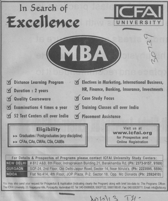 MBA Course (Institute of Chartered Financial Analysts Of India (ICFAI))