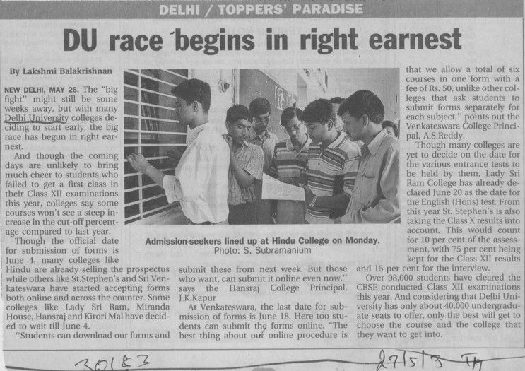 Du race begins in right earnest (Delhi University)