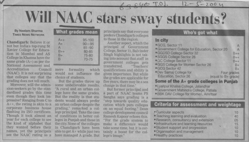 Will NAAC stars sway students (National Assessment and Accreditation Council (NAAC))