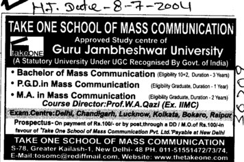 PGD in Mass Communication (Guru Jambheshwar University of Science and Technology (GJUST))