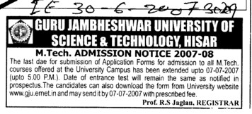 MTech course (Guru Jambheshwar University of Science and Technology (GJUST))