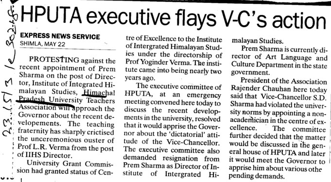 HPUTA executive flays VC action (Himachal Pradesh University)