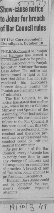 Show cause notice to Johar for breach of Bar Council rules (Bar Council of Punjab and Haryana)