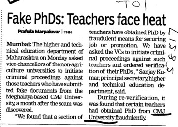 Fake PhDs, teachers face heat (Chander Mohan Jha (CMJ) University)