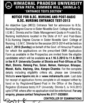 Post basic BSc nursing (Himachal Pradesh University)
