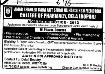 M Pharm Course (Amar Shaheed Baba Ajit Singh Jujhar Singh Memorial College of Pharmacy ASBASJSM Bela)