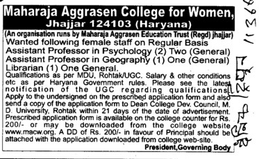 Asstt Professor in Physchology (Maharaja Aggrasen College for Women)