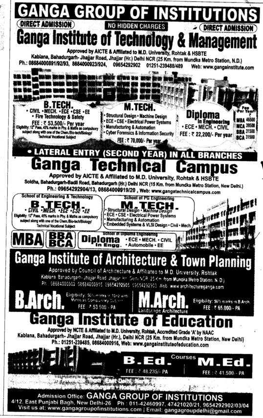BTech and MTech (Ganga Group of Institutions Punjabi Bagh)