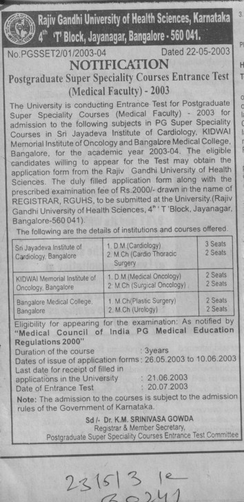 PG Super Speciality course (Rajiv Gandhi University of Health Sciences RGUHS)