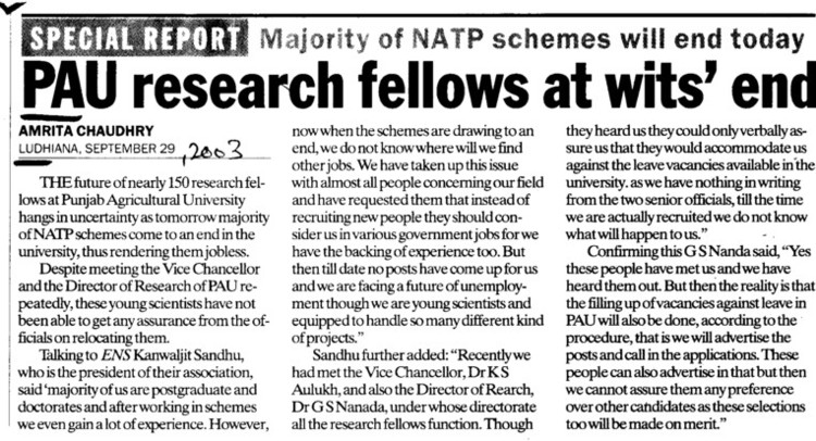 PAU research fellows at wits end (Punjab Agricultural University PAU)