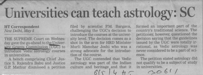 Universities can teach astrology, SC (University Grants Commission (UGC))