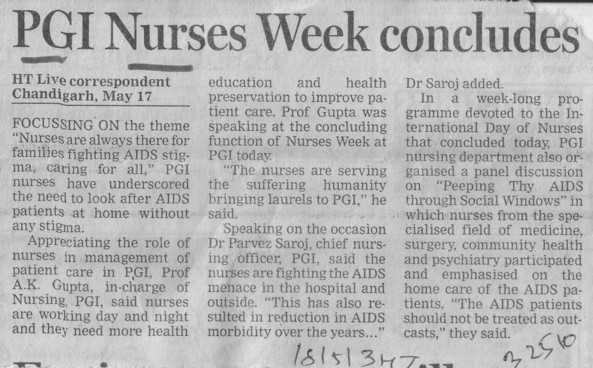PGI nurses week concludes (PGI Hospital National Institute of Nursing Education)