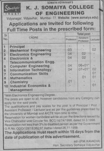 Asstt Professor and Lecturer (KJ Somaiya College of Engineering (KJSCE))