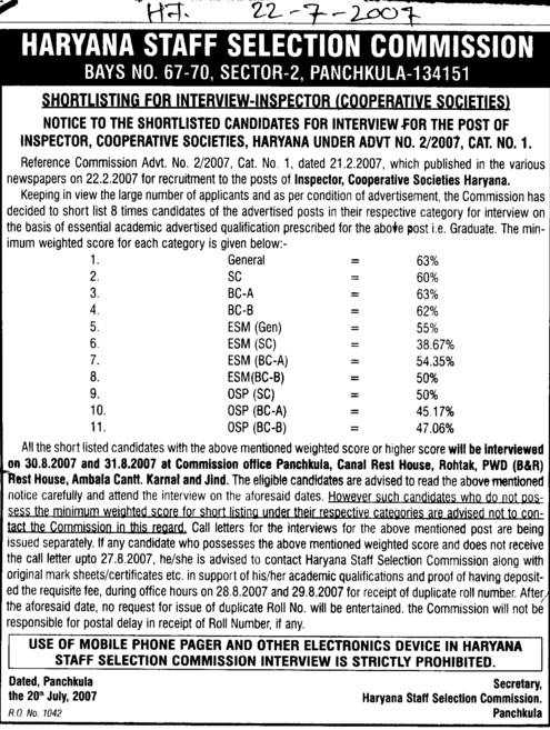 Shortlisting for interview Inspector (Haryana Staff Selection Commission (HSSC))