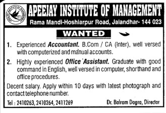 Accountant and office asstt (Apeejay Institute of Management)