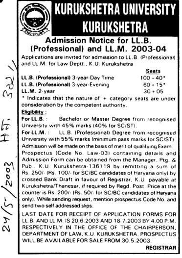 LLB and LLM (Kurukshetra University)