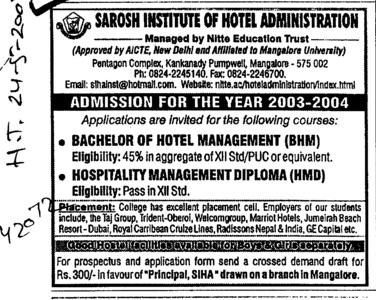 BHM and HMD (Sarosh Institute of Hotel Administration)