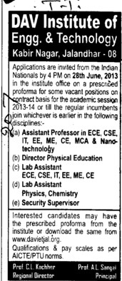 Asstt Professor (DAV Institute of Engineering and Technology DAVIET)