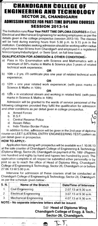 Diploma in ECE and ME (Chandigarh College of Engineering and Technology (CCET))