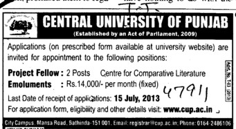 Project Fellow (Central University of Punjab)