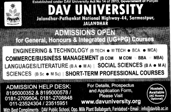 BCom, MCom and BBA (DAV University)