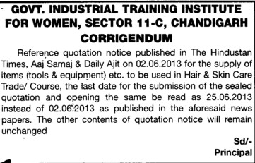 Changes in tender (Industrial Training Institute (ITI Women))