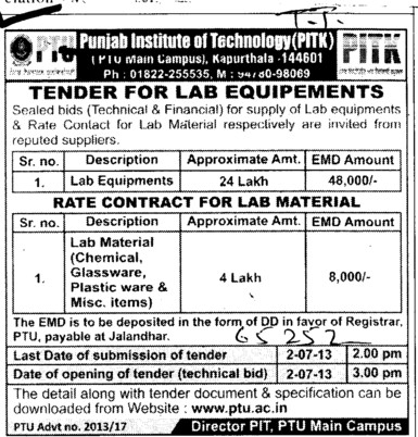 Lab material (Punjab Institute of Technology (PIT-K) (PTU Campus))