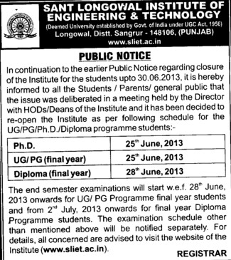 Institute reopen notice for Dip, UG and PG (Sant Longowal Institute of Engineering and Technology SLIET)