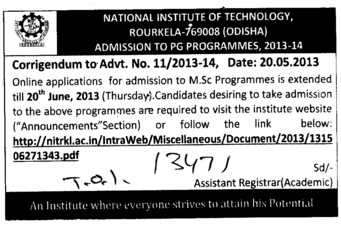 MSc programme (National Institute of Technology (NIT))