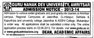 PG Courses (Guru Nanak Dev University (GNDU))